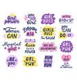 girl power letterings motivational feminist vector image
