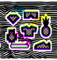 glitch effect social network stickers in hip hop vector image