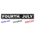 grunge fourth july textured rectangle stamps vector image vector image