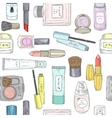 Hand drawn cosmetics pattern Beauty and makeup vector image vector image