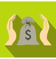 Hands protecting dollar money bag icon flat style vector image