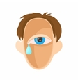 Head with eye crying icon cartoon style vector image vector image
