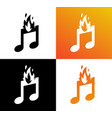 icon of musical burning note fire and symbol of vector image vector image
