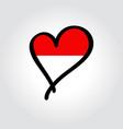 indonesian flag heart-shaped hand drawn logo vector image vector image