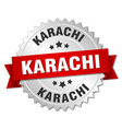 Karachi round silver badge with red ribbon vector image vector image