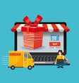 laptop noteebok with red gift box delivery track vector image