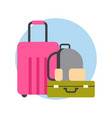luggage icon suitcases and bags travel baggage vector image