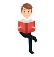 man reading textbook character vector image