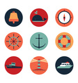 Marine icons in circles vector image vector image
