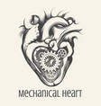 mechanical heart retro vector image