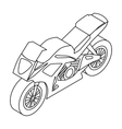 Motorcycle icon in outline style isolated on white vector image