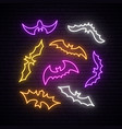 neon bats collection happy halloween concept vector image vector image