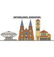 netherlands eindhoven city skyline architecture vector image vector image