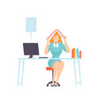 overworked businesswoman seating in office vector image vector image