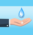 save water concept with hand holding water drop vector image vector image
