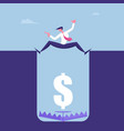 scared businessman stand above deep hole with trap vector image vector image