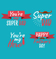 set of happy fathers day banner and giftcard best vector image vector image