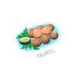 sketch drawing falafel - oriental vegetarian vector image