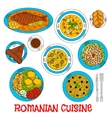 Sketches of romanian cuisine dishes vector image vector image
