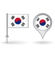 South Korean pin icon and map pointer flag vector image vector image