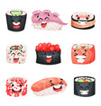 Sushi cartoon characters set japanese food with vector image