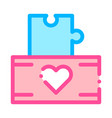 volunteers support game box thin line icon vector image vector image