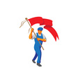 Worker Marching Flag Bearer WPA vector image vector image