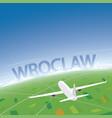 wroclaw flight destination vector image