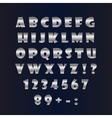English silver alphabet on a black background vector image