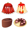 set dessert jelly with cherry and strawberries cak vector image