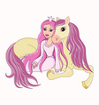 Beautiful princess and her lovely faithful horse vector image