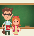 back to school couple students with blackboard vector image vector image