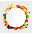 ball banner with fruits and vegetables vector image