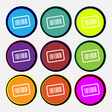 Barcode icon sign Nine multi colored round buttons vector image