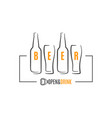 beer bottles with beer glass logo on white vector image vector image