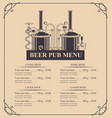 beer pub menu with a price list in retro style vector image vector image