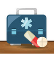briefcase with pill and drug treatment vector image vector image