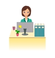 Business woman working in office Character design vector image vector image