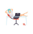businesswoman resting at computer in office young vector image vector image