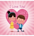 couple proposal happy i love you pink heart vector image