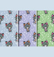 cute cat christmas greeting card seamless pattern vector image vector image