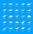 dinosaur types signed name icons set simple style vector image