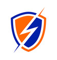 electric power shield modern shield symbol logo vector image