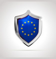 european union flag projected as a glossy shield vector image vector image