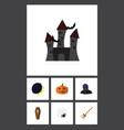 flat icon celebrate set of broom crescent casket vector image vector image