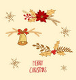 Floral compositions for merry christmas and happy