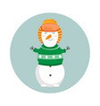 funny cartoon snowman merry christmas and happy vector image vector image