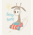 giraffe go by car - eps vector image
