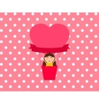 Girl sitting in hot air balloon in the shape of vector image vector image