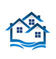 group of blue houses wavy icon vector image vector image